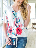 Floral Printed Button Tie Front Blouse-Blouses-hundredfeel.com-White-S-hundredfeel