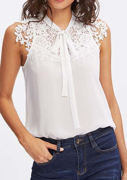 Lace Applique Tied Neck Top-Blouses-hundredfeel.com-White-S-hundredfeel