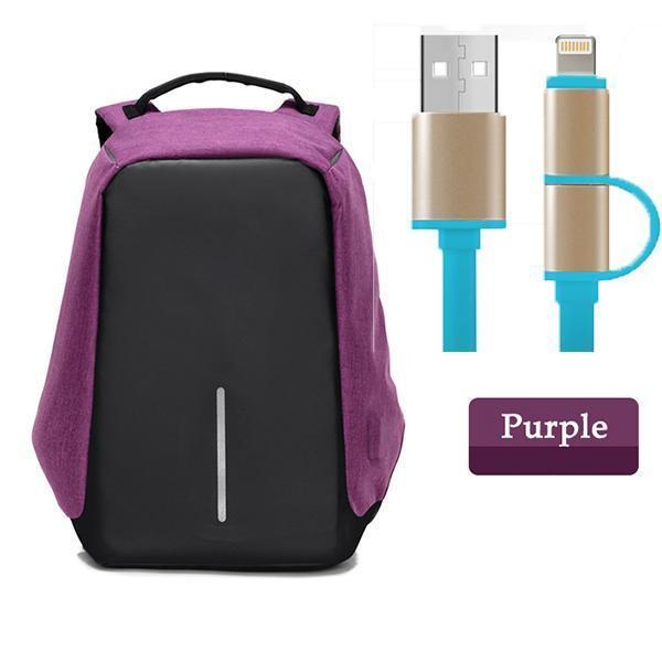 Multifunctional Anti-theft Backpack-ACCESSORIES-hundredfeel.com-Purple Backpack+Blue USB Cable-hundredfeel