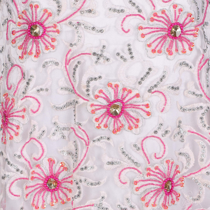 Hand Embroidered Fabric Design # 4182 - Pure White With Fuchsia Pink Stone - 5 Yard Piece