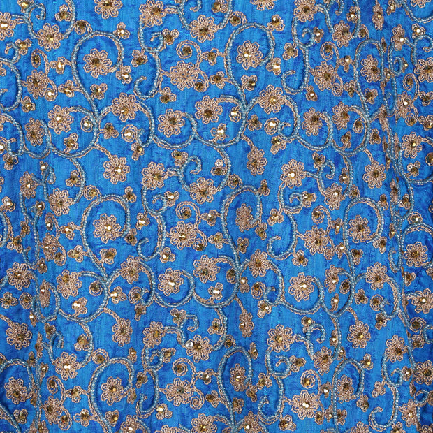Hand Embroidered Fabric Design # 4170 - Turquoise Blue - Per Yard