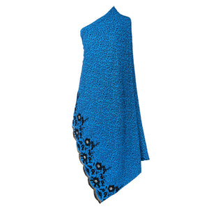 Wrap Around Scarf  Design # 2006 - Turquoise Blue - 5 Yard Piece