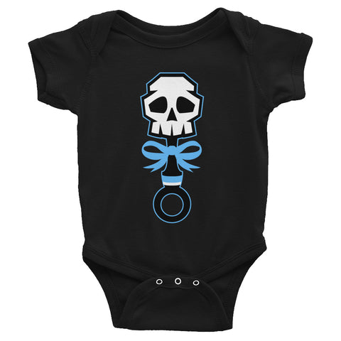 Lala Rose Blue Rattle Skull Onesie