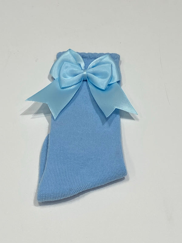 Baby blue bow sock