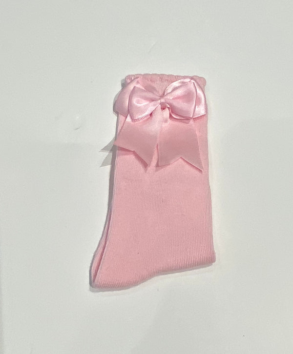 Baby pink bow sock