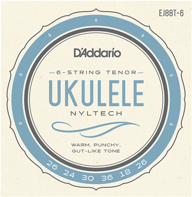 D'Addario EJ88T-6 Nyltech 6-String Tenor Ukulele Strings (gCceAa Tuning)
