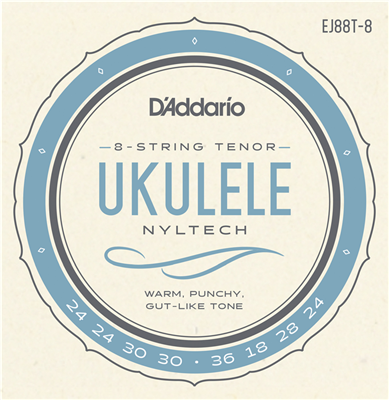 D'Addario EJ88T-8 Nyltech 8-String Tenor Ukulele Strings (GgCcEEAA Tuning)