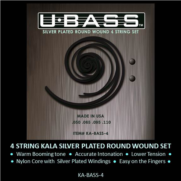 UBASS Silver Plated Round Wound U-Bass Strings for Bass Ukulele E-A-D-G Tuning