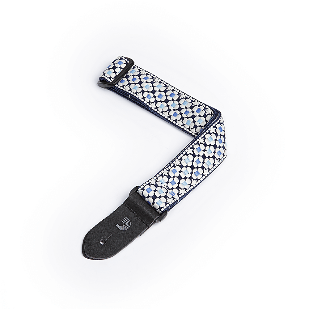 1 1/2 inch D'Addario Woven BLUE and WHITE Flowers Ukulele Strap
