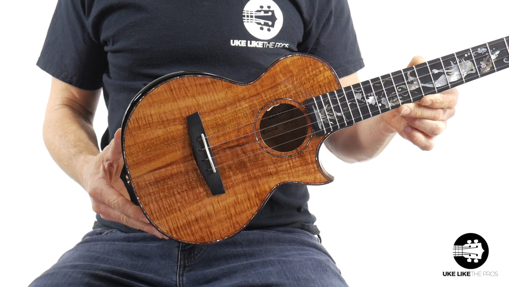 "Enya Custom Tenor Ukulele Solid Premium Curly Koa w/Cutaway and Pickup EUC-A8  ""Mermaid"""