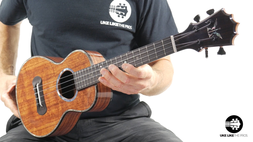 "KoAloha Custom Black Label Solid Koa Tenor Ukulele ""Platinum Storm"""