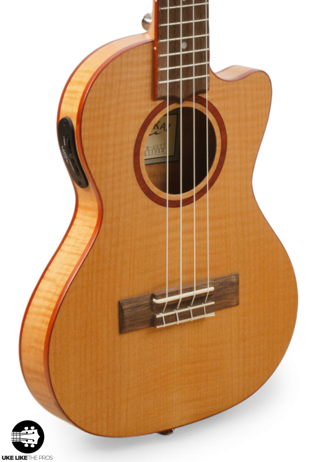 "Lanikai Flame Maple Thin Body Tenor Ukulele Cutaway with A/E Ukulele FM-CETT ""Iokua"""