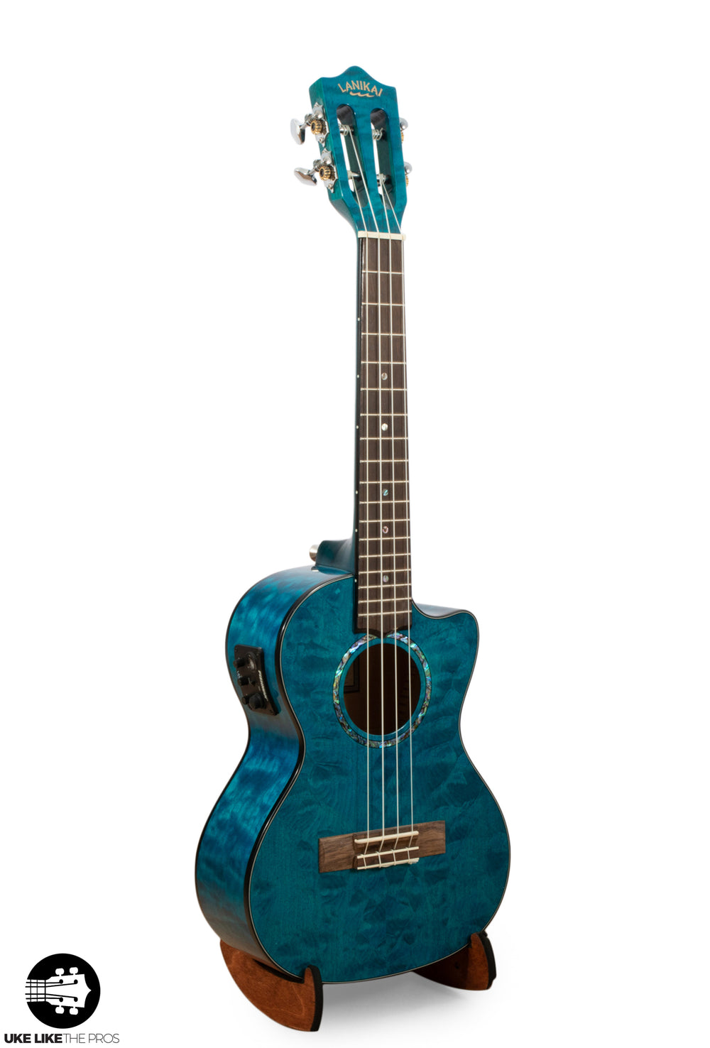 "Lanikai Quilted Maple Blue Tenor Ukulele Cutaway with Fishman Pickup QM-BLCET ""Kahili"""
