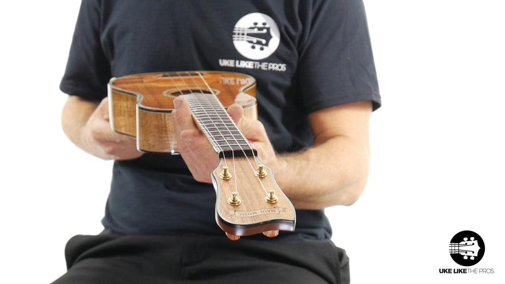 "Maui Music Custom Koa Concert Long Neck Ukulele ""Green Lantern"""