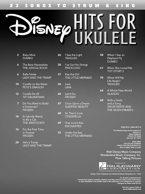 Disney Hits for Ukulele 23 Songs to Strum & Sing Play