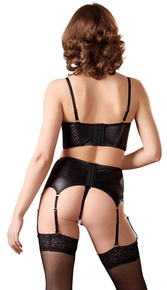Black | 3-piece Suspender | Gold-Coloured Details | Set | Abierta Fina