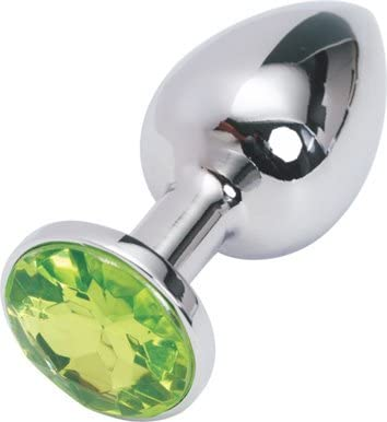 Silver large butt plug green