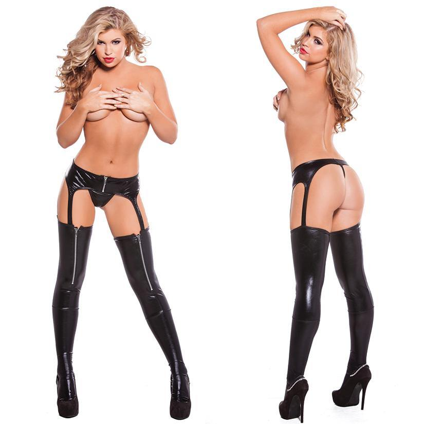 Allure Lingerie | Wet look Zipper Garter Tights | Black