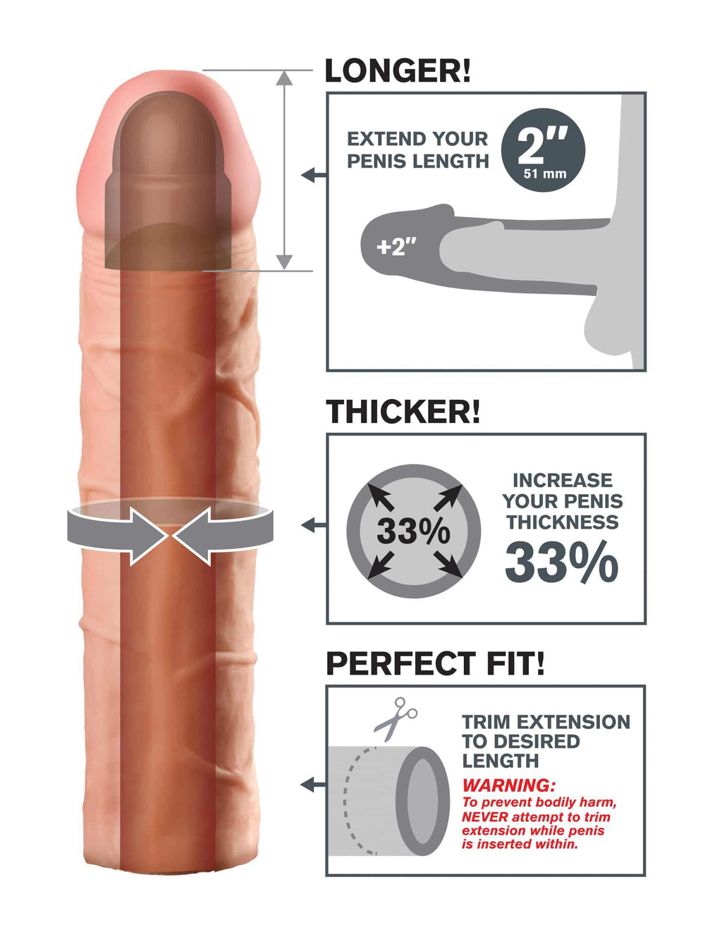 "Fantasy X-tensions 8"" Silicone Hollow Extension"