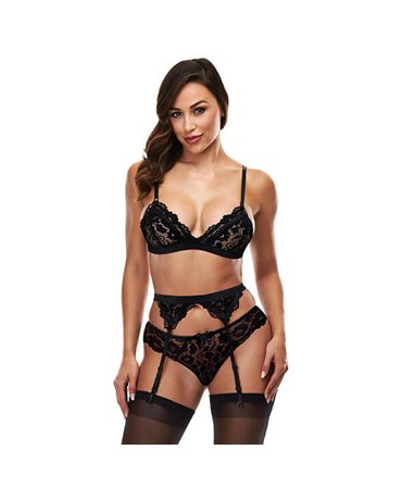 Baci 3pc Lace Garter Set Black