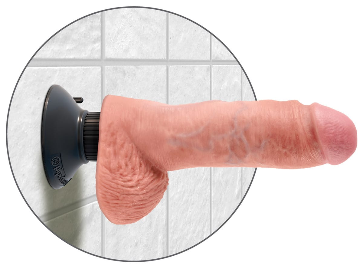 "King Cock 8"" Vibrating Cock Flesh 