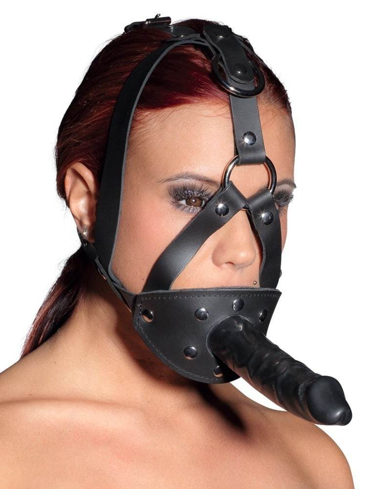 Zado Leather Adjustable Head Harness with metal poppers to attach to 13 cm dildo