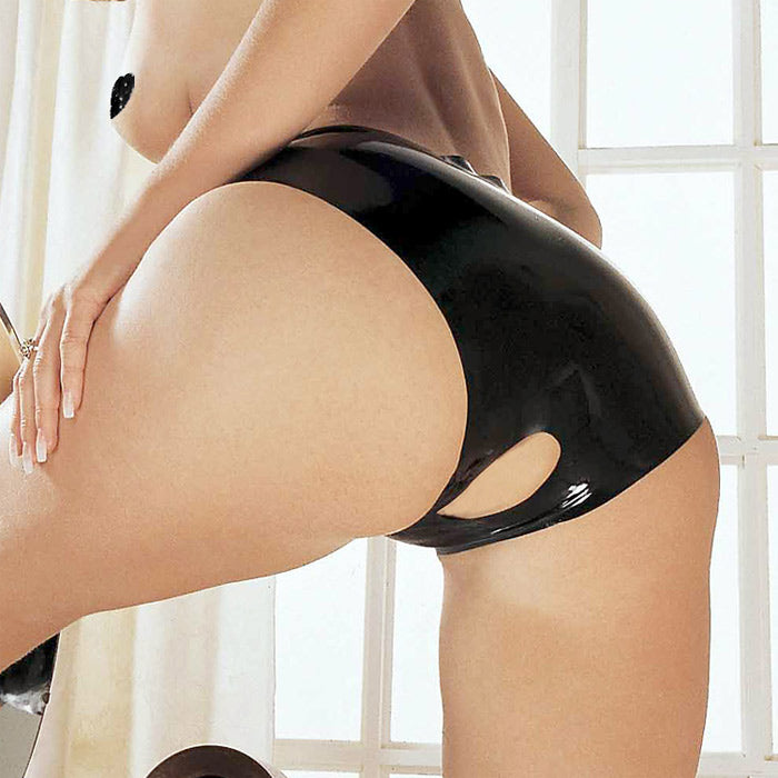 Sharon Sloane Latex Open Crotch Panties | Black