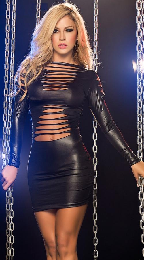 Leather Laser Cut Sexy Dress 3