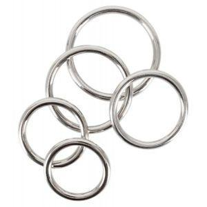 Set Of 5 X Chrome Carbon Steel Cock Rings, BDSM