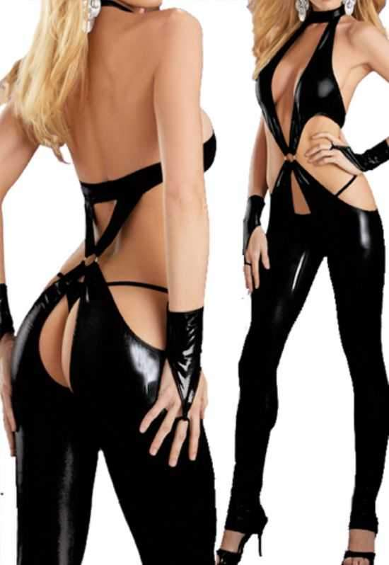 JOJO Sexy Faux Leather, crotchless, dominator stretch+ free gloves and thong.