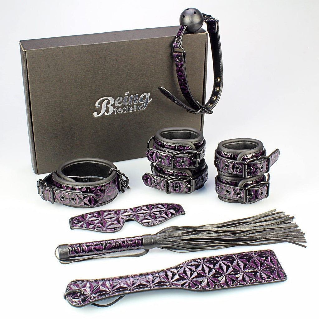 Being Fetish 7 pc's Bondage Purple-Black Kit, Vegan Leather | My Sex Shop