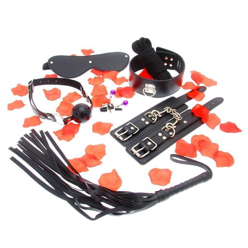Amazing Bondage Sex Toy Kit, eye-mask, whip, nipple clamps, mouth gag, wrist cuffs, rope.