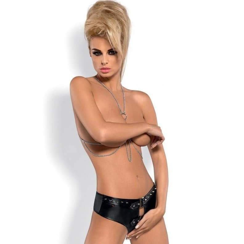 Punker Shorties Set Chained top ,soft faux leather, studs and buckles open crotch | Sexy Outfits, Sexy Lingerie, Sex Toys For Women, Sex Toys, Adult Toys | My Sex Shop