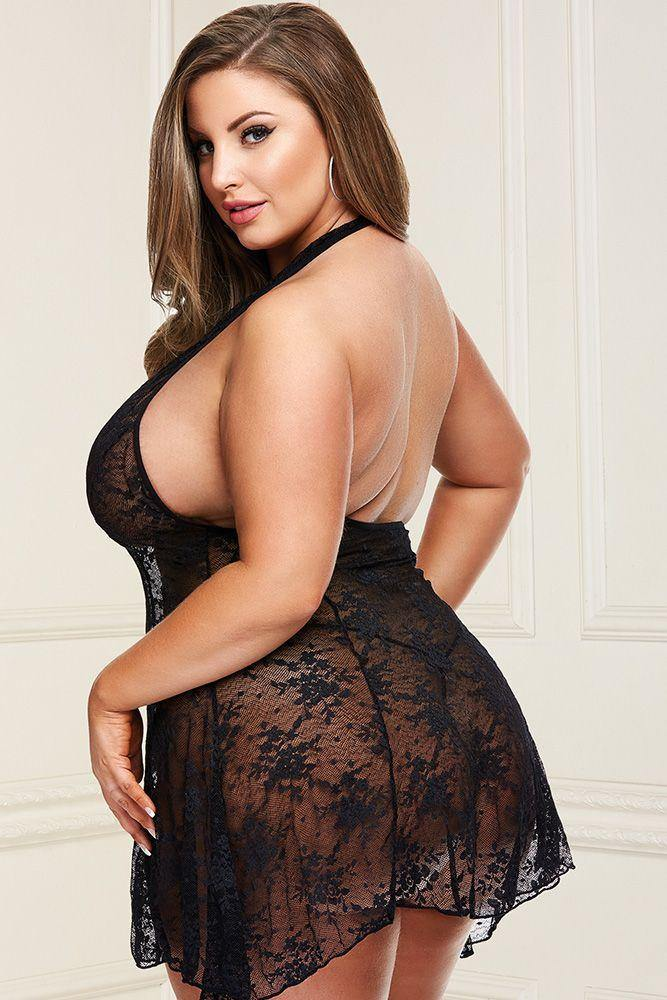 Baci Head Over Heels Black Lace Babydoll