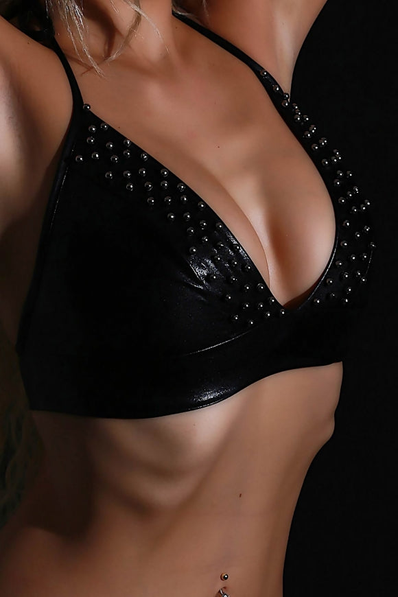 Mite Love Black Bra Lame Leather Riveted