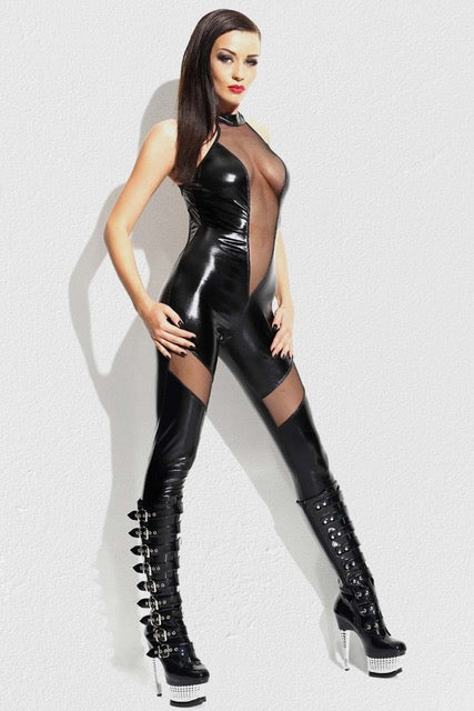 Mitelove Faux Leather Mesh Body Stocking