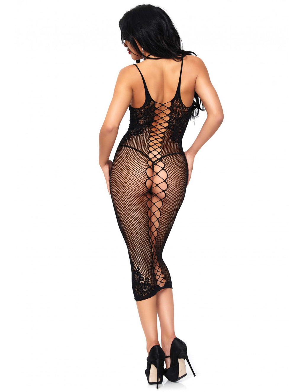 Fishnet Seamless Halter Dress