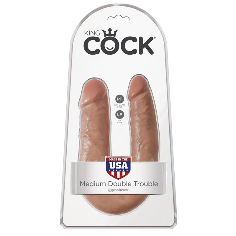KING COCK | U-SHAPED | MEDIUM DOUBLE TROUBLE | TAN