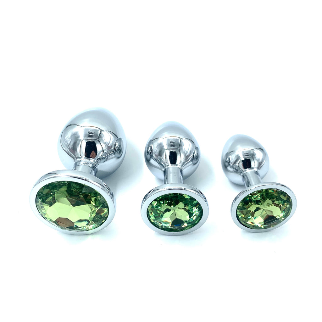 Silver Butt Plug Green Kit S/M/L