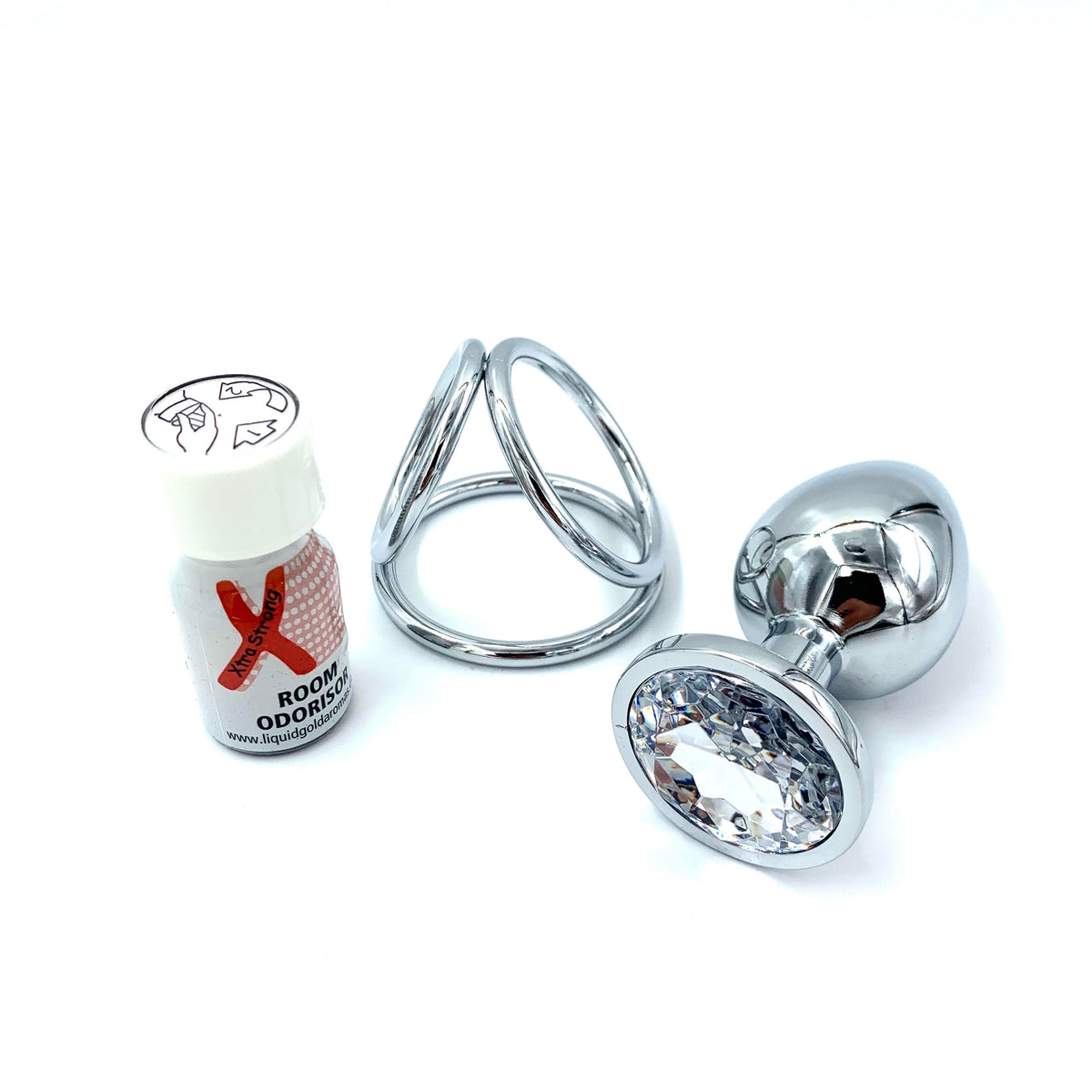 XXL Chrome | Silver Diamond Large Butt Plug | Silver Triple Loop Ring