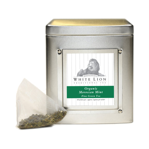 Image of White Lion Organic Moroccan Mint Tea Tin 18 Ct.