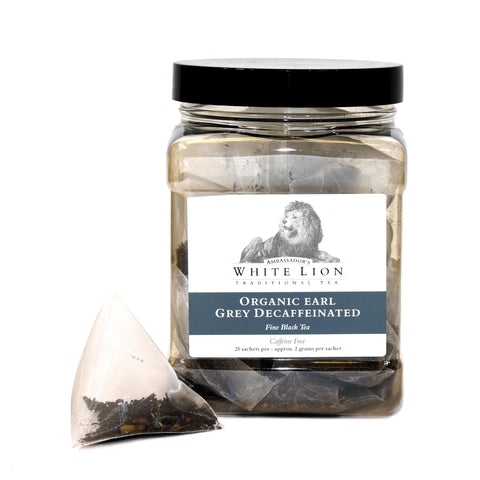 Image of White Lion Organic Earl Grey Decaf Tea Canister 25 Ct.