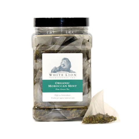 White Lion Organic Moroccan Mint Tea Canister 50 Ct.
