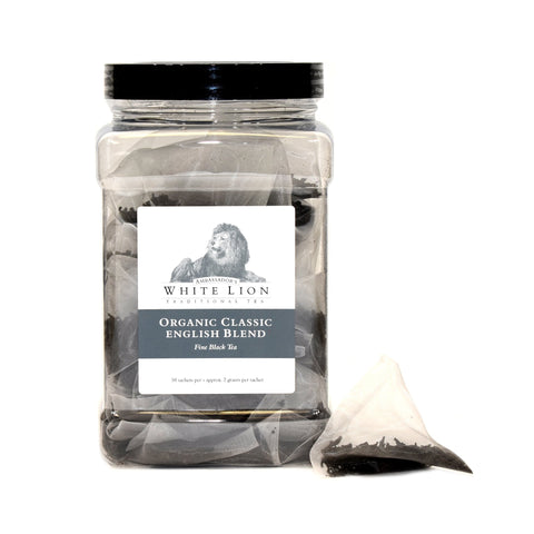 White Lion Organic Classic English Blend Tea Canister 50 Ct.