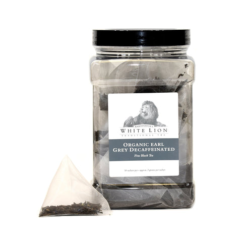 Image of White Lion Organic Earl Grey Decaf Tea Canister 50 Ct.