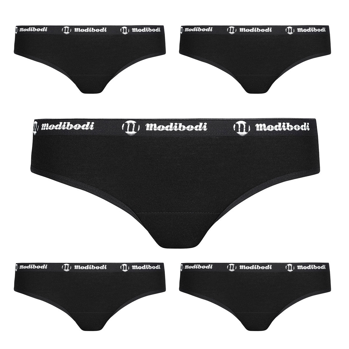 Modibodi Active Brief 5 Pack Black Light-Moderate