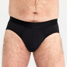 Load image into Gallery viewer, Mens Brief - Black Light-Moderate Absorbency - Modibodi