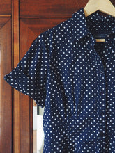 Load image into Gallery viewer, Navy Polka Dot Short Sleeve Button Down