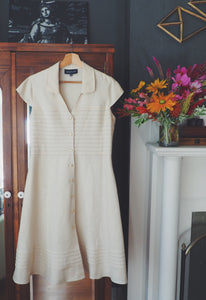 Linen A-Line Button Front Dress