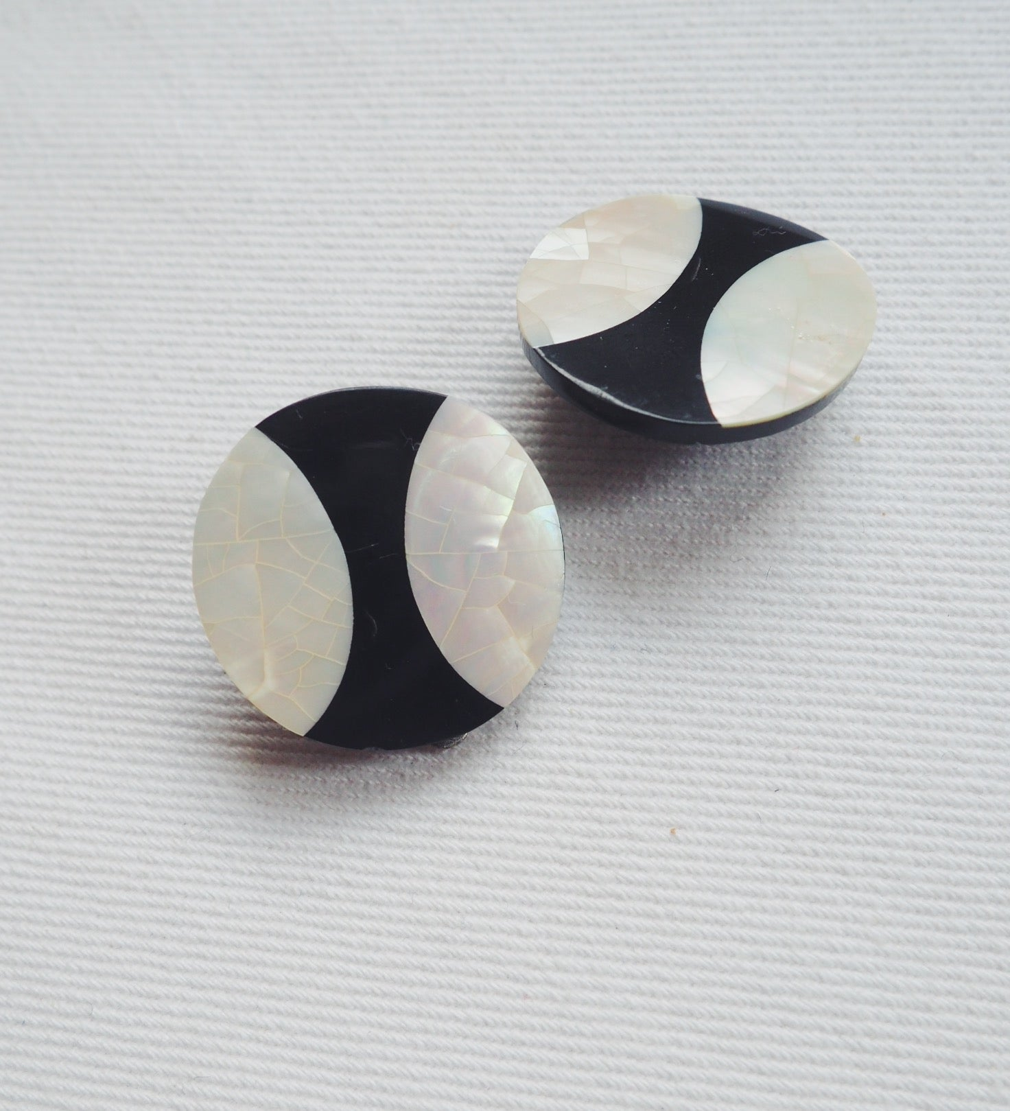 Vintage Black and Mother of Pearl Clip Ons